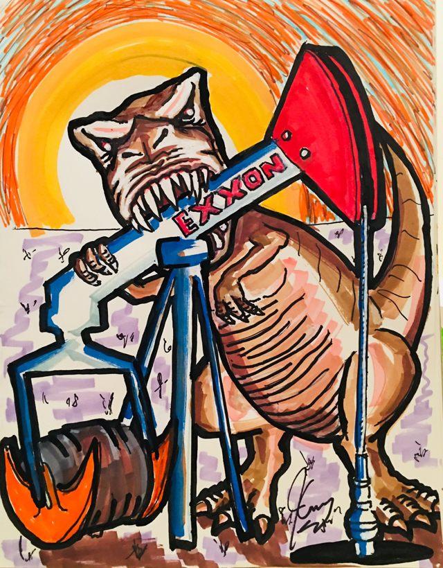 «¿Podemos seguir confiando en los restos de animales muertos para alimento o combustible? ¿Son los antiguos dinosaurios de gran petróleo, carbón y ganado que nos llevarán a nuestra extinción? Si deseas encontrar un camino saludable hacia adelante, mira esto, tituló Jim Carrey a esta pintura