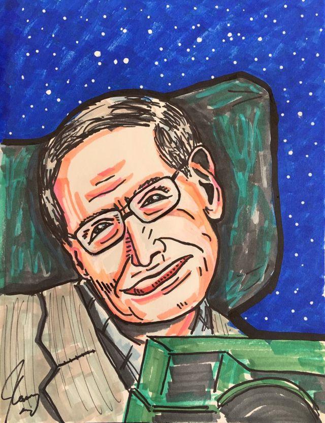 «Saludos, Stephen Hawking, el mejor atleta mental de nuestro tiempo. Eres todo lo que es! ¡Nos vemos, amigo! ; ^)», tituló Jim Carrey a esta pintura, representando al afamado físico que murió recientemente