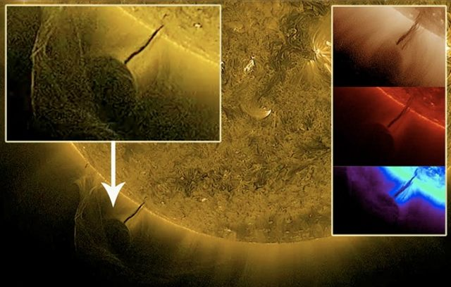 Hace un tiempo, cámaras que monitorean el Sol, capturaron esta escena que parece mostrar un «objeto» consumiendo energía del Sol