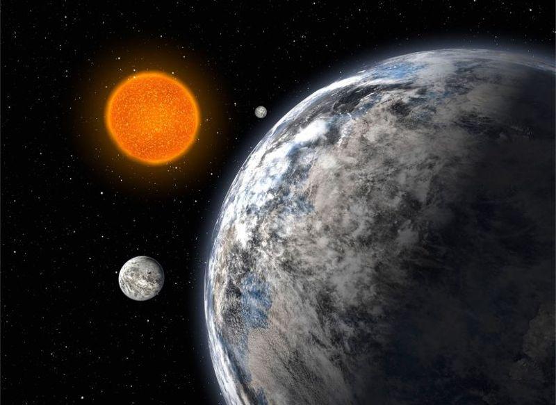 Representación artística de un sistema estelar de tres supertierras