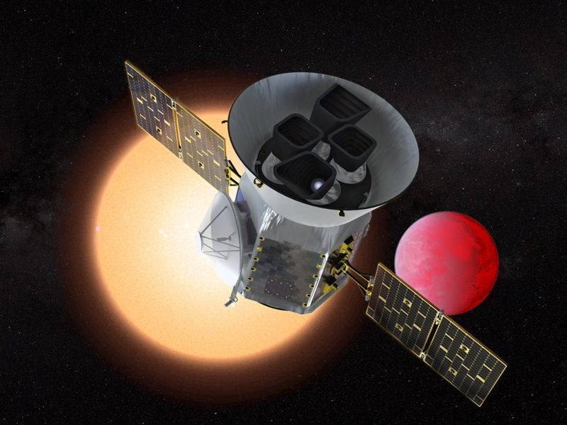Representación artística del satélite Transiting Exoplanet Survey Satellite (TESS)