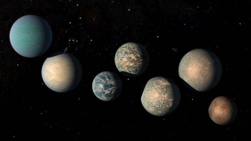 Representación artística del sistema planetario TRAPPIST-1