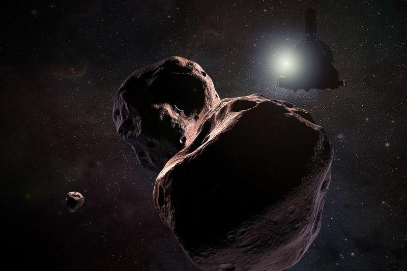 Representación artística de la nave espacial New Horizons en el objeto espacial 2014 MU69, ahora apodada Ultima Thule