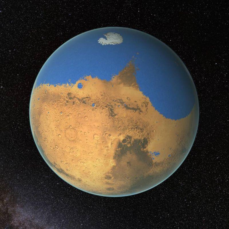 De acuerdo a científicos de NASA, un océano primitivo en Marte contenía más agua que el Océano Ártico de la Tierra