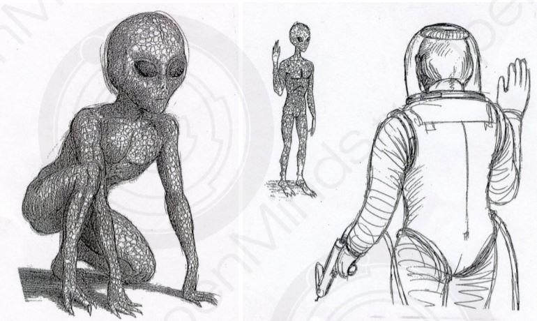 Ilustración del J-Rod y la señal de saludo, que, por protocolo debían hacer al estar frente a ellos