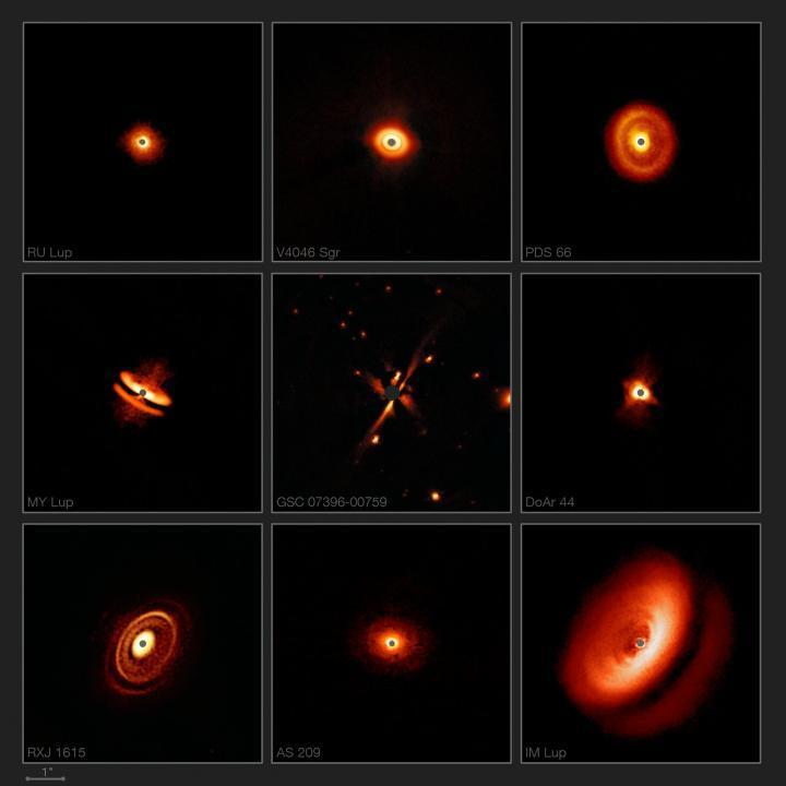 Estas imágenes capturadas con el instrumento SPHERE en el Very Large Telescope de ESO están revelando los discos polvorientos que rodean a las estrellas jóvenes cercanas con mayor detalle que el logrado anteriormente