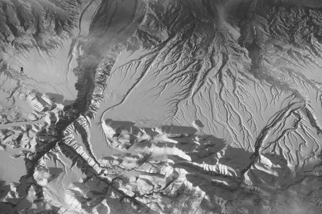 Imagen aérea en la que se insertó una pequeña figura de gorila (arriba a la izquierda) para el experimento