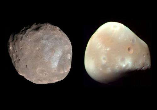 Las dos pequeñas lunas de Marte: Fobos y Deimos