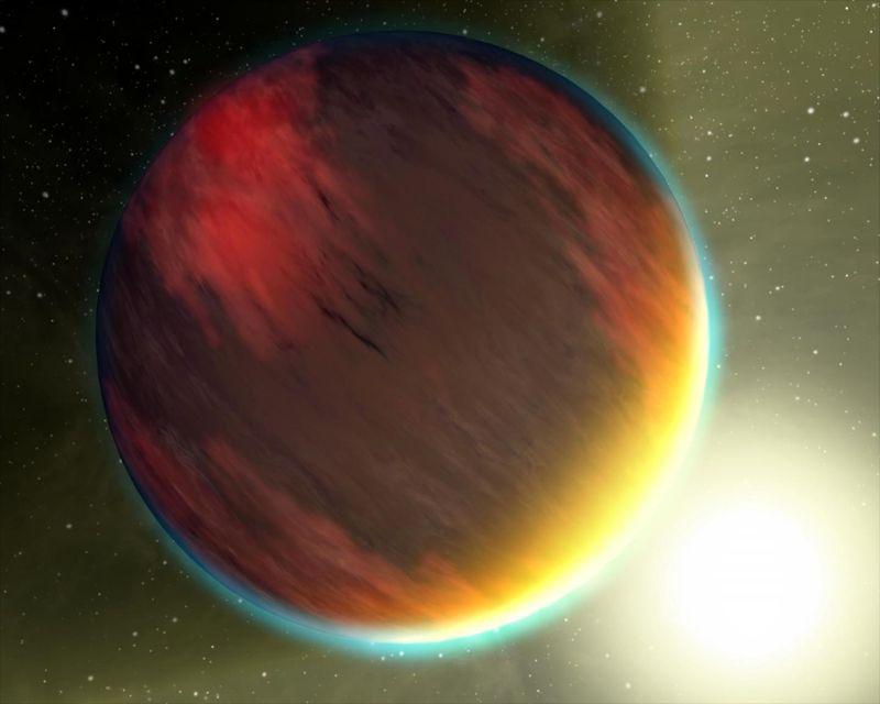 Esta imagen muestra la impresión de un artista de un planeta caliente de clase Júpiter. Los investigadores creen que el Júpiter WASP-104b caliente podría ser uno de los planetas más oscuros que se haya descubierto
