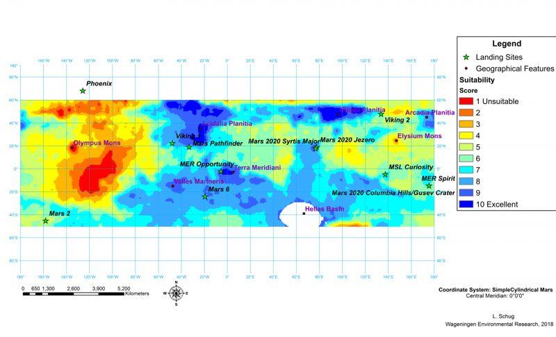 En la imagen podemos ver un mapa de las mejores ubicaciones para comenzar una colonia en Marte, en función de qué áreas serían más hospitalarias para los cultivos