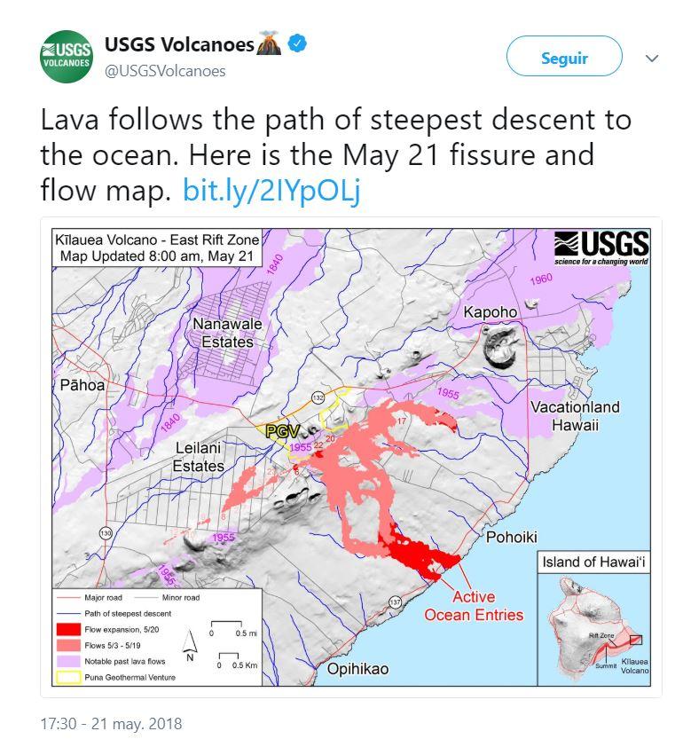 Lava sigue el camino de descenso más inclinado hacia el océano. Aquí está el mapa de fisura y flujo del 21 de mayo