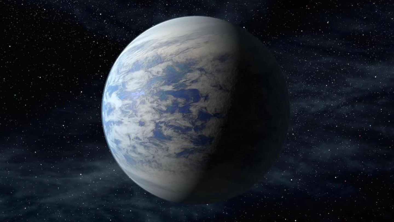 Representación artística de Kepler-69c, una supertierra ubicada en la zona habitable de una estrella en la constelación de Cygnus, a 2.700 años luz de la Tierra. Si existieran alienígenas inteligentes en este planeta, tendrían dificultades para salir de su superficie, debido a la fuerte gravedad del planeta