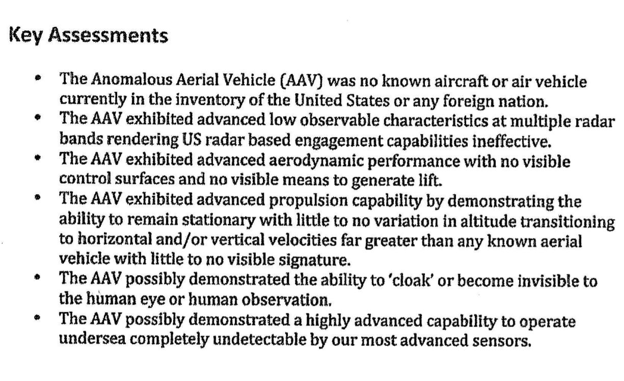 Extracto del informe donde se dan a conocer las características del objeto anómalo observado
