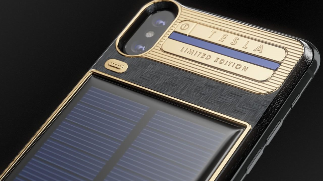 Este es el Iphone X «Tesla» y posee un panel solar autocargable