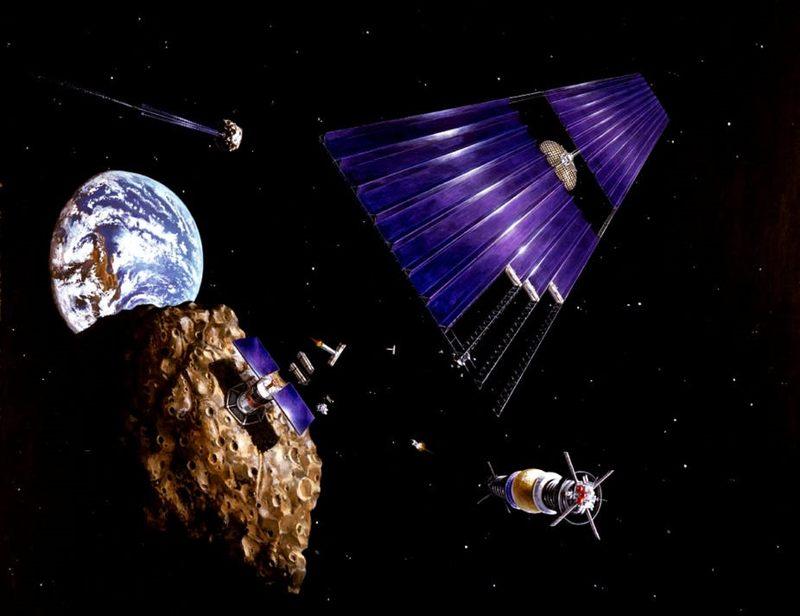 Representación artística de un satélite con energía solar en una misión minera
