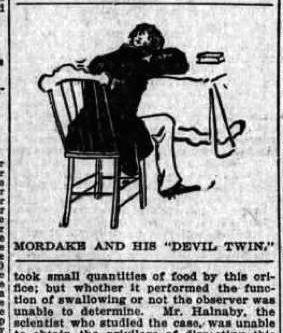 La historia de Mordrake se originó en 1895 en «The Boston Sunday Post», donde apareció su historia junto a otros extraños y falsos personajes mitad animal y mitad humano