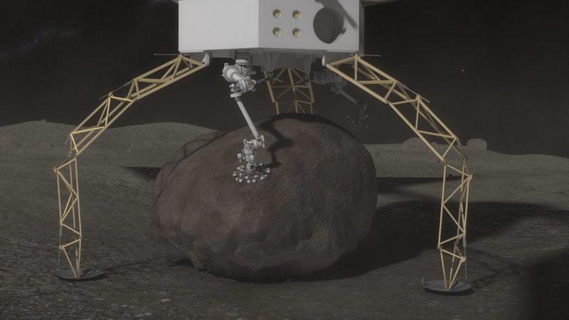 Una vez que la roca está asegurada, la nave espacial empujará mecánicamente, o «saltará» desde la superficie y usará propulsores para ascender desde la superficie del asteroide