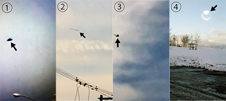 Esta es una recopilación de algunas de las fotografías de los OVNIs que afirman se comunican con el «niño OVNI» de Japón