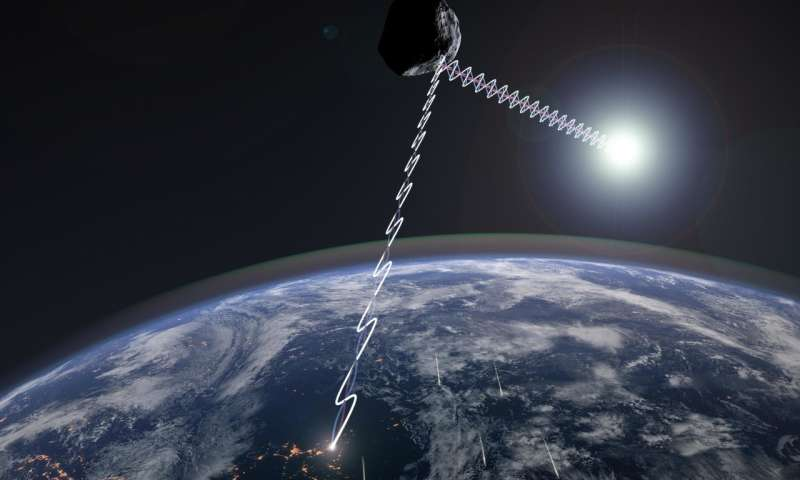 Concepción del artista de la luz polarizada reflejada por el asteroide cercano a la Tierra Faetón. La misión DESTINY está programada para investigar a Faetón