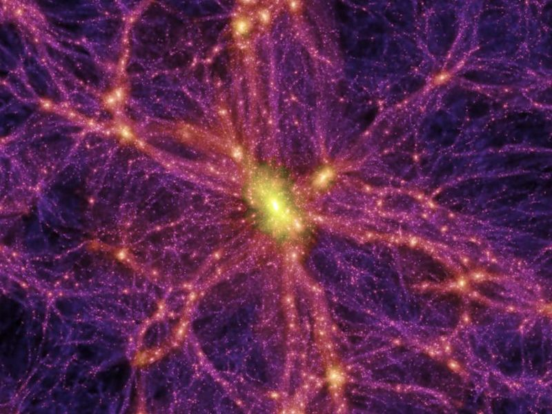 Simulación de la distribución de la materia oscura en el universo hace 13.600 millones de años