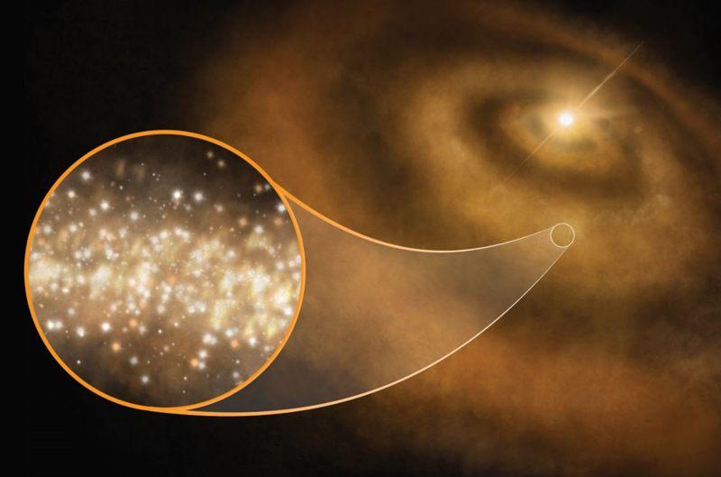 Representación artística de diamantes a nanoescala girando alrededor de una joven estrella