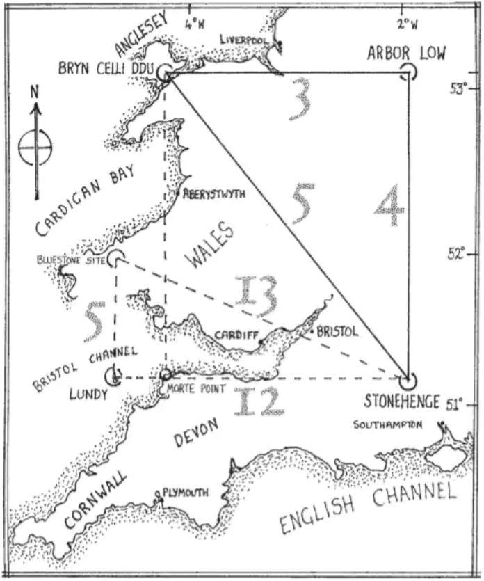 Los autores afirman que otros sitios importantes en Gran Bretaña también están unidos por triángulos
