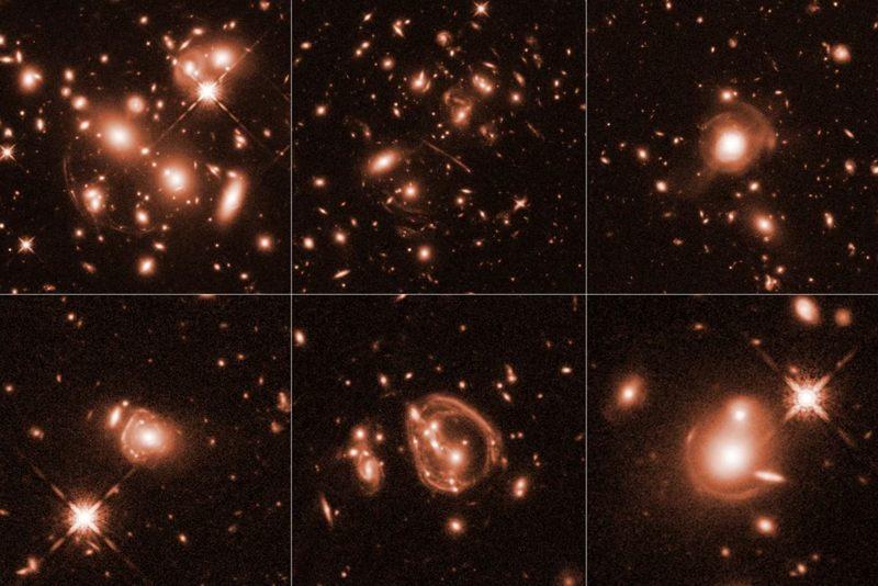 Seis imágenes diferentes del Telescopio Espacial Hubble han sido magnificadas por un efecto cósmico llamado lente gravitacional. Las imágenes fueron tomadas en luz infrarroja por la cámara de campo amplio 3. El color se ha agregado para resaltar detalles en las galaxias