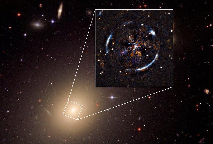 Una imagen de la galaxia cercana ESO 325-G004, creada utilizando los datos recopilados por el Telescopio Espacial Hubble de NASA/ESA y el instrumento de MUSE