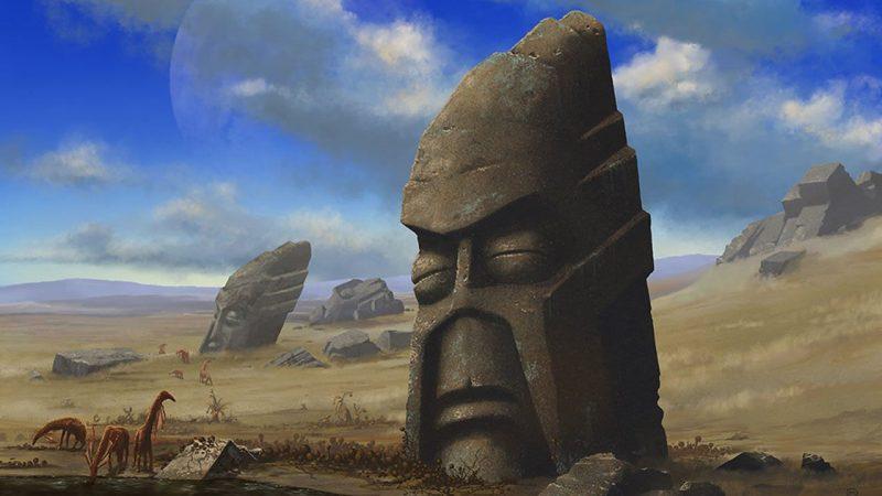 Los científicos han planteado observar anteriores extinciones, para determinar cómo una civilización podría colapsar. En la imagen una representación de una posible civilización alienígena con una historia paralela a la ocurrida en la Isla de Pascua.