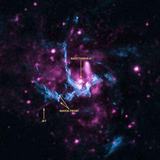 Esta imagen compuesta presenta rayos X del Observatorio de Rayos X Chandra de la NASA (violeta) y datos de radio de Very Large Array (azul) de NSF. Puede ver la posición del agujero negro Sagitario A*