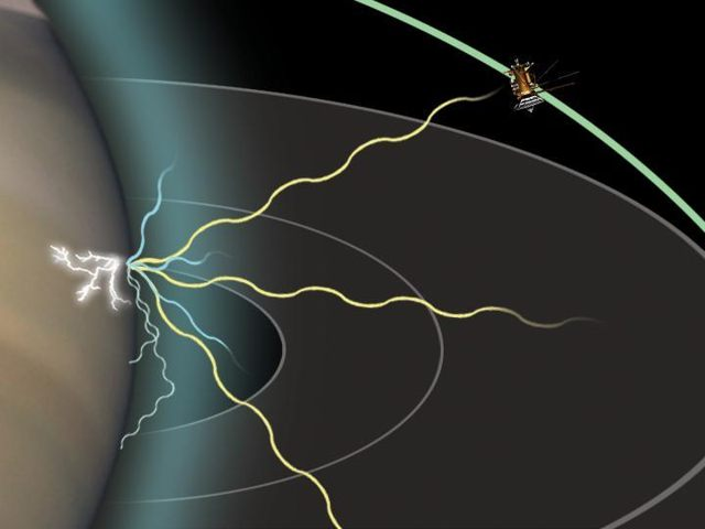 Esta representación artística muestra cómo Cassini es capaz de detectar señales de radio de un rayo en Saturno