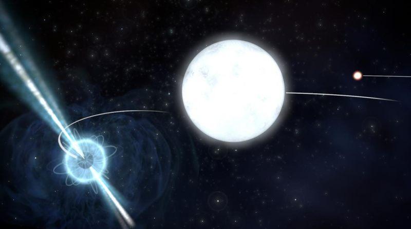 Impresión artística del sistema de estrellas PSR J0337+1715 utilizado por los astrónomos para comprobar la Teoría de la Relatividad.