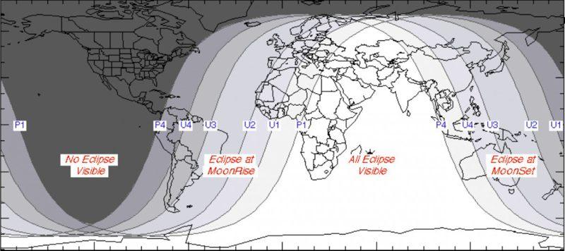 Donde el eclipse lunar total será visible.