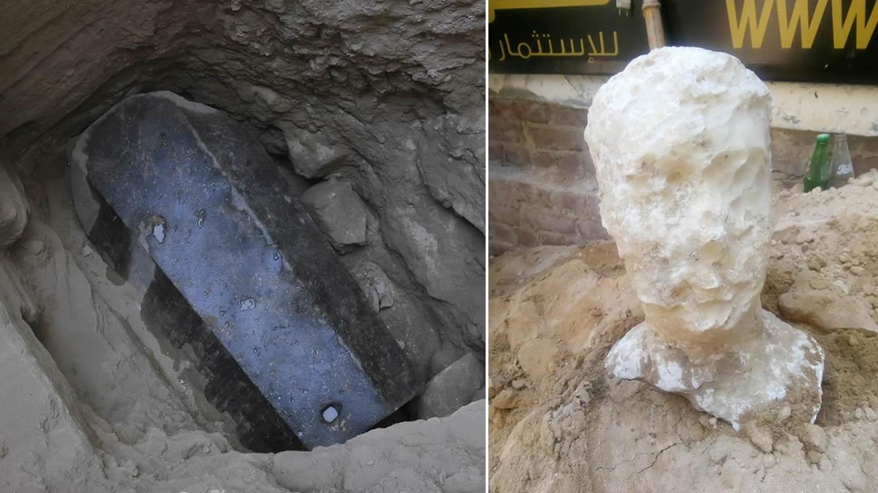 Hallan un sarcófago gigante y una enorme cabeza de piedra de hace 2.000 años en Egipto