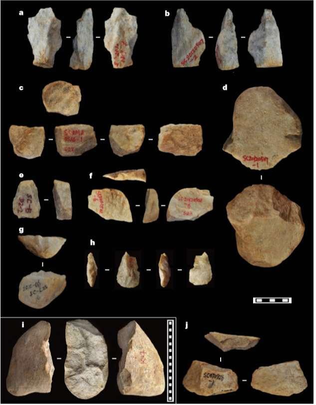 Ejemplos de varios tipos de herramientas de piedra descubiertas en las colinas Shangchen de la meseta de Loess