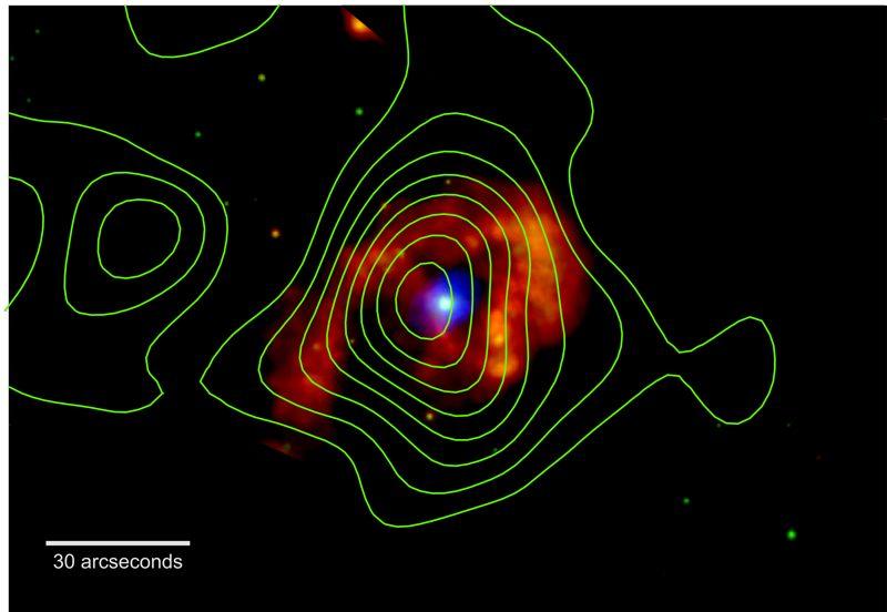 Eta Carinae brilla en rayos X en esta imagen del Chandra X-ray Observatory de la NASA. Los colores indican diferentes energías