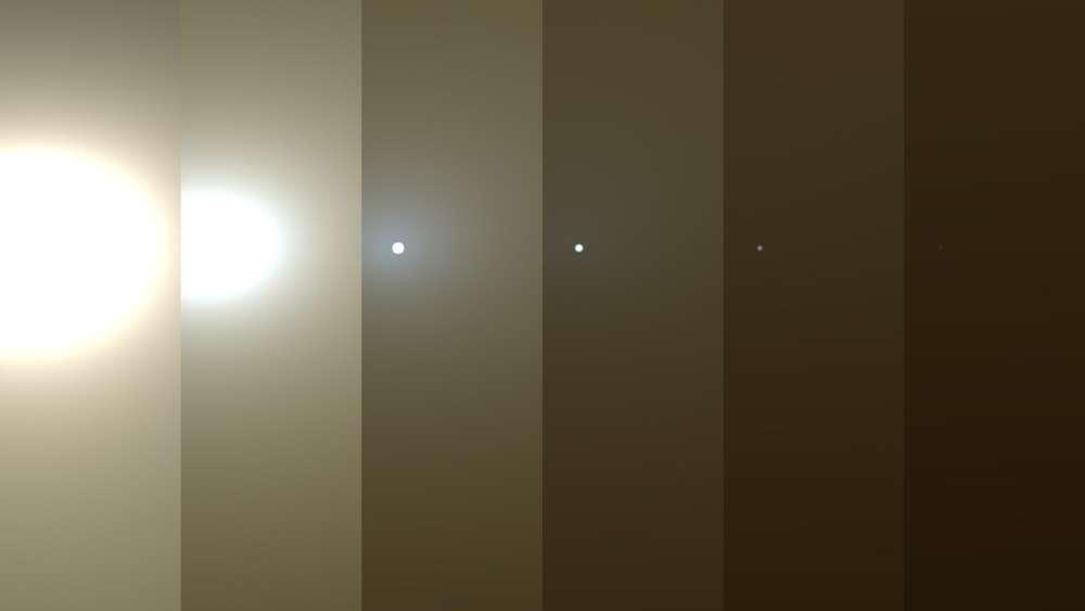 Estas imágenes simuladas muestran lo que vio el rover Opportunity de la NASA cuando una tormenta de polvo global en Marte borró el sol en junio de 2018
