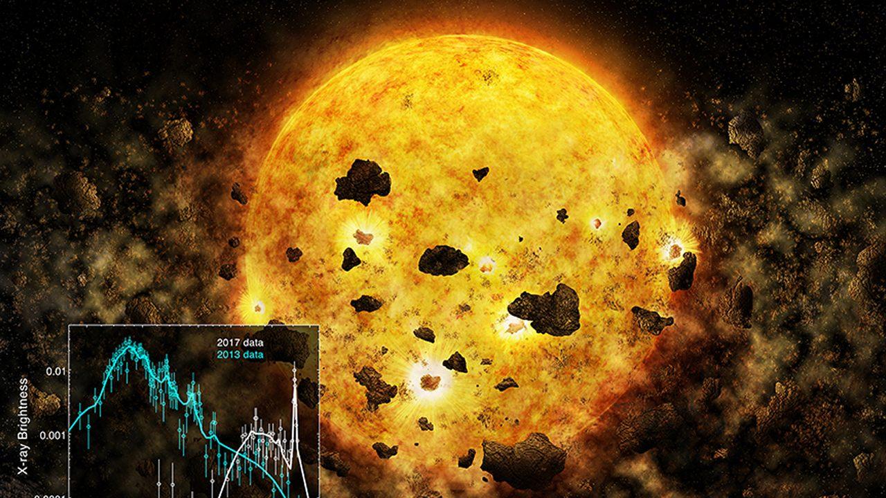 Una joven estrella se está comiendo a su propio planeta, y es detectada en tiempo real