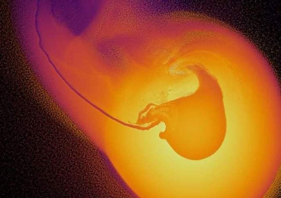 La colisión con Urano vista en una simulación de alta resolución con más de diez millones de partículas