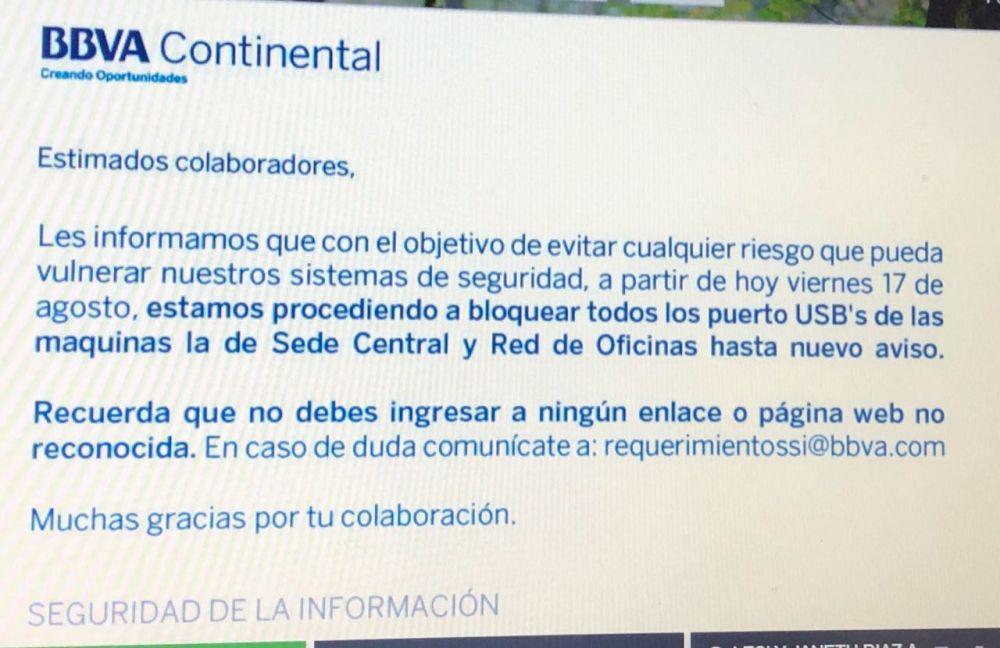 Comunicado de un Banco de Perú ante el posible ataque informático