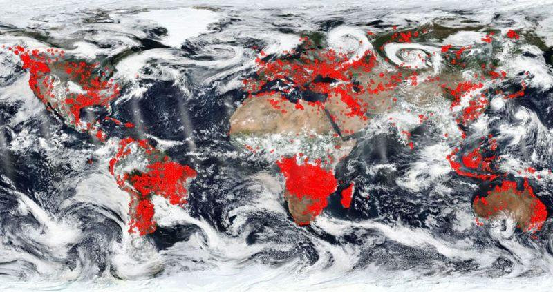 Incendios y anomalías termales en el mundo. (24 de agosto 2018).
