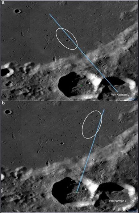 Los dos cráteres en la imagen se encuentran al sur de la región de aterrizaje. Los grandes círculos elípticos representan posibles trayectorias balísticas (líneas azules) de eyecciones de impacto desde los cráteres de origen