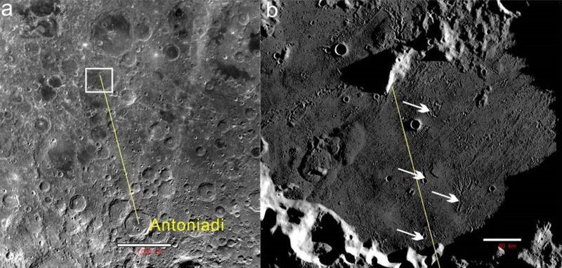 Esta imagen muestra los cráteres secundarios dentro de Von Kármán Crater, la región de aterrizaje de Chang'e 4