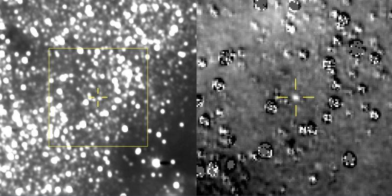 Los científicos de New Horizons compilaron 48 imágenes diferentes tomadas el 16 de agosto de 2018, para centrarse en la ubicación del próximo objetivo de la nave espacial, 2014 MU69 (izquierda). También restaron las estrellas en el marco para enfocarse en el objeto mismo (derecha)