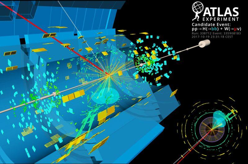 Esta exhibición de eventos de ATLAS muestra una colisión protón-protón dentro del Gran Colisionador de Hadrones que tiene características de un Higgs que se descompone en dos quarks inferiores