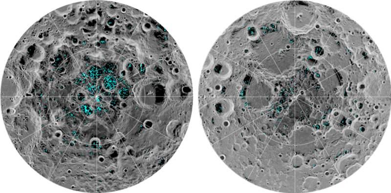 La imagen muestra la distribución del hielo de la superficie en el polo sur de la Luna (izquierda) y el polo norte (derecha), detectado por el instrumento Moon Mineralogy Mapper de la NASA. El azul representa las ubicaciones de hielo, trazadas sobre una imagen de la superficie lunar, donde la escala de grises corresponde a la temperatura de la superficie (el más oscuro representa las áreas más frías y las sombras más claras indican las zonas más cálidas). El hielo se concentra en las ubicaciones más oscuras y más frías, en las sombras de los cráteres. Esta es la primera vez que los científicos observan directamente la evidencia definitiva de hielo de agua en la superficie de la Luna