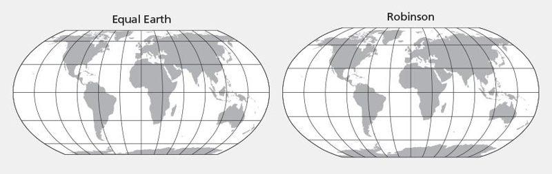 El diseño de Equal Earth se inspiró en la proyección de Robinson.