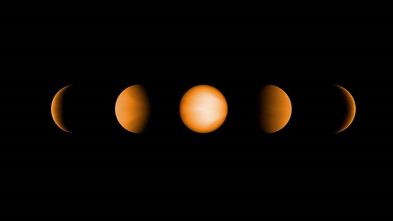 Estas vistas simuladas del Júpiter ultracaliente WASP-121b muestran cómo se vería el planeta para el ojo humano desde cinco posiciones diferentes, iluminadas en diferentes grados por su estrella madre