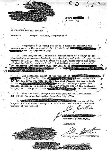 Documento de la CIA desclasificado sobre MK Ultra, parcialmente censurado, sobre el uso de LSD en un subproyecto y sus costes.