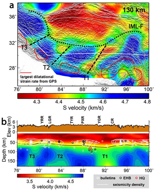Imágenes de velocidad de onda sísmica de la meseta tibetana